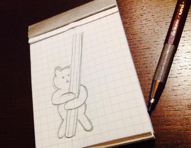鉛筆抱っこクマ