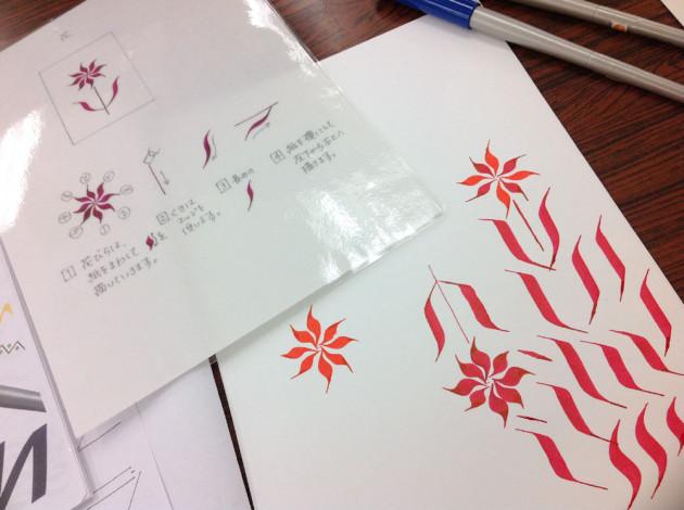 カリグラフフィーペンで花を描いてみる