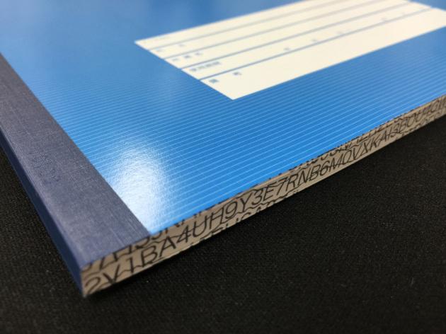 研究ノートの側面には改ざん抑止の印刷が