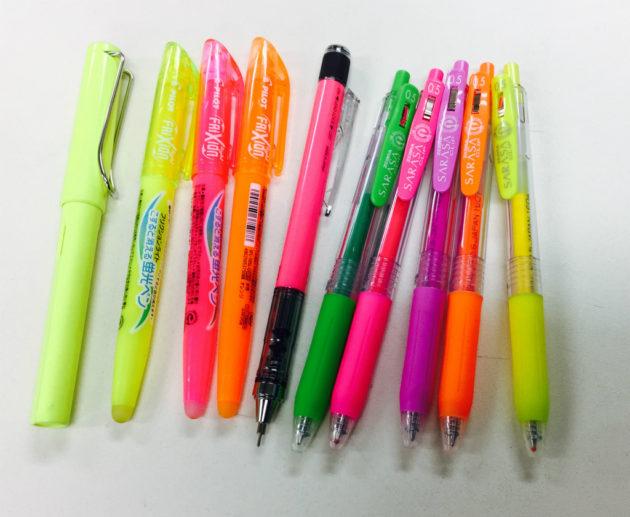 ネオンカラーなペン